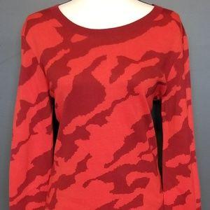 CABI Glam Red Camo Sweater
